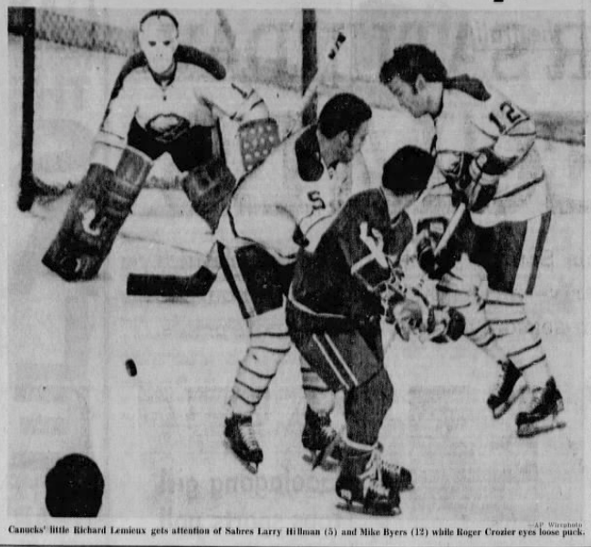 #OTD in 1972 Don Luce's goal at 6:15 of the 1st is all Roger Crozier needed as the Buffalo Sabres shut out Vancouver 1-0. Former Vancouver WHL coach Joe Crozier was behind the bench for his 1st win against his former city. https://t.co/MbQdZm3xIM