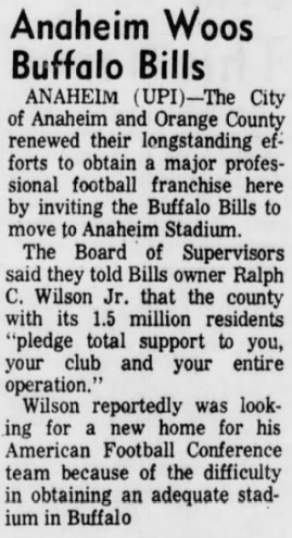 #OTD in 1971 the city of Anaheim in Orange County California invite Bills owner Ralph Wilson to move his team to their city. https://t.co/BVIa4buls3