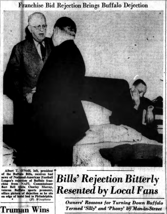 #OTD in 1950 the city of Buffalo gets the news that they have not been selected as an expansion NFL franchise as they did not get the unanimous 13 votes for acceptance. It appeared as if the Los Angeles franchise and one other voted Buffalo down. https://t.co/sqCjdUYnay