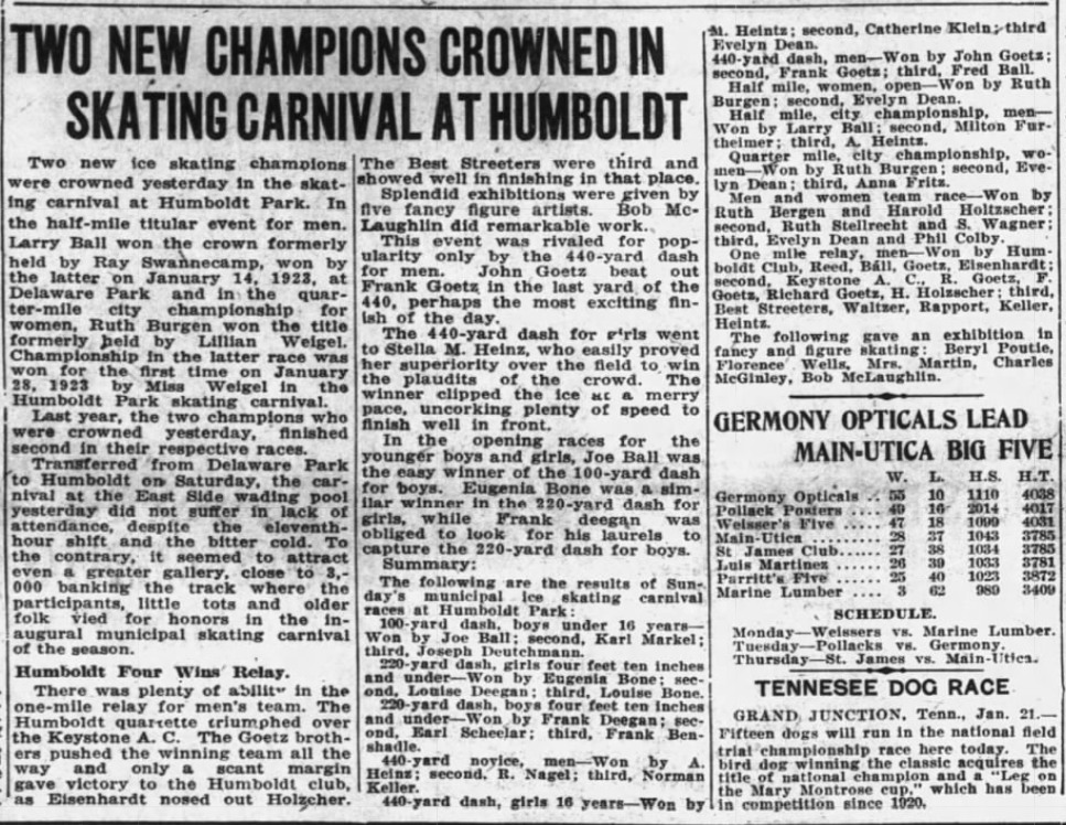 "#OTD in 1924 fourteen year-old Catherine ""Kit"" Klein of Buffalo finishes second in the girls 16 year old division speed skating 440 yard dash at the Humboldt Park Skating Carnival. https://t.co/W0RmxVi6hm"