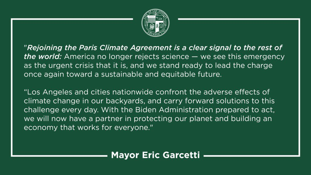 Restoring our global climate leadership on day one — that's how we begin to build America back better.  Excited to partner with the Biden Administration on building a clean and just future for all.