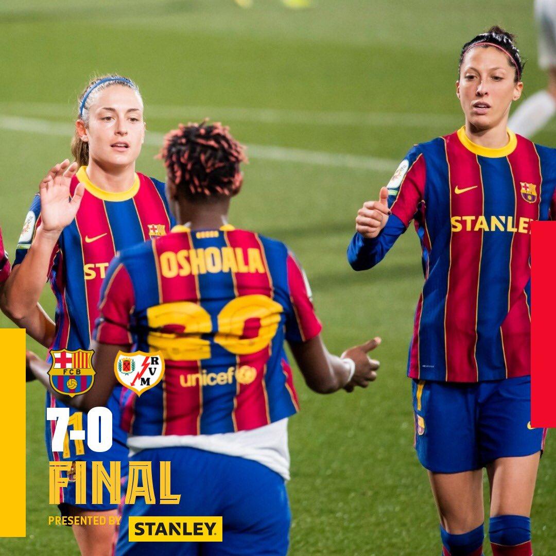 Hoy las chicas del Barça vencieron 7-0 al Rayo Vallecano en una jornada más de la #PrimeraIberdrola  Goles de: Jenni Hermoso⚽ Alexia Putellas ⚽⚽ Asisat Oshoala ⚽⚽  Mapi León ⚽ Aitana Bonmati ⚽