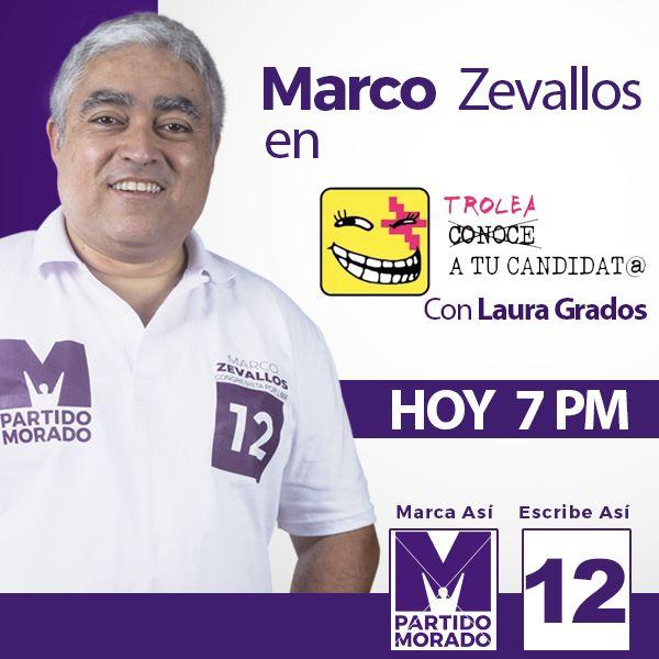 Esta noche, a las 7pm, estaré con @Lauletras en el programa 'Trolea a tu candidat@' por @uterope.  Será una conversación en vivo sin anestesia. Acompáñennos!  #MarcoPorLima  #M12