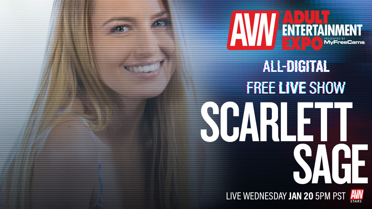 .@ScarlettSageX Going live for the all-digital #AVNShow today at 5:00 p.m. Tune in here: stars.avn.com/scarlettsage