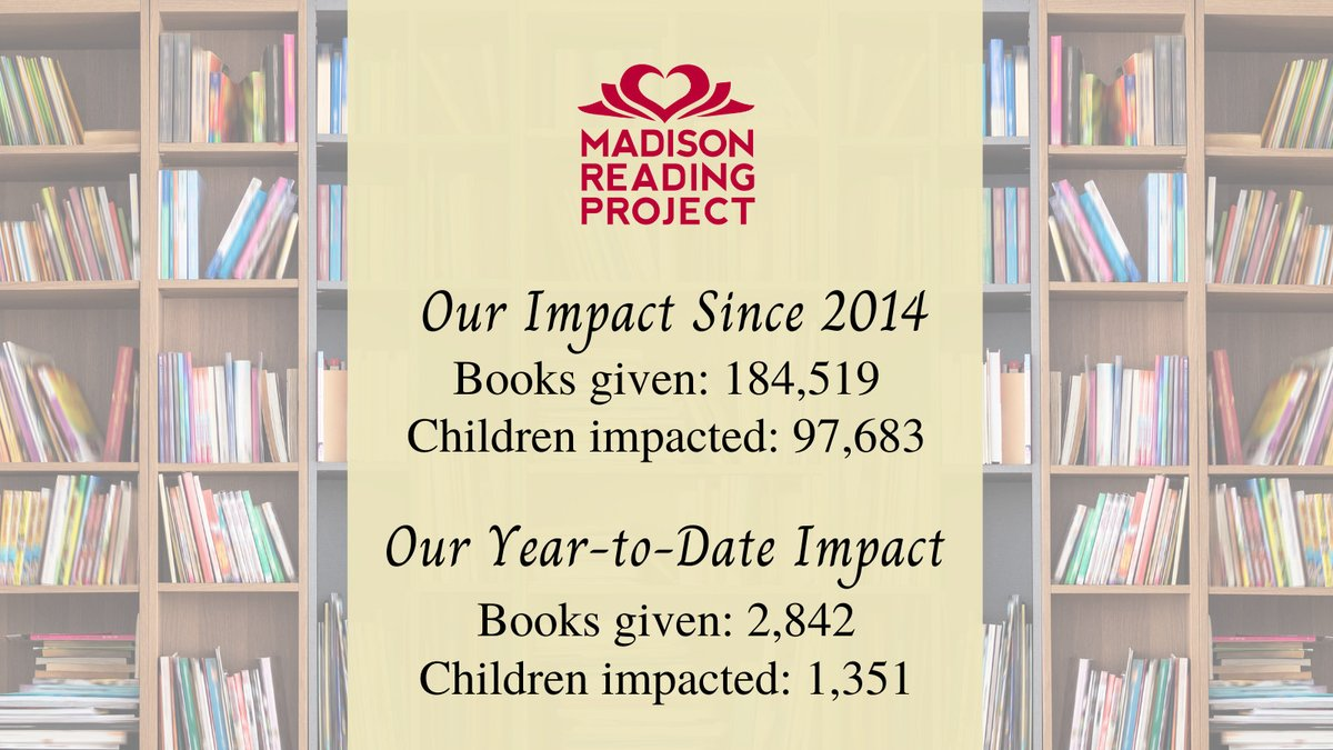 💞 🤗 𝑻𝒉𝒂𝒏𝒌 𝒀𝒐𝒖 for helping us spread literacy throughout our communities.  #MadisonReadingProject #Community #Impact #KidLit https://t.co/JPyHhmGqr3