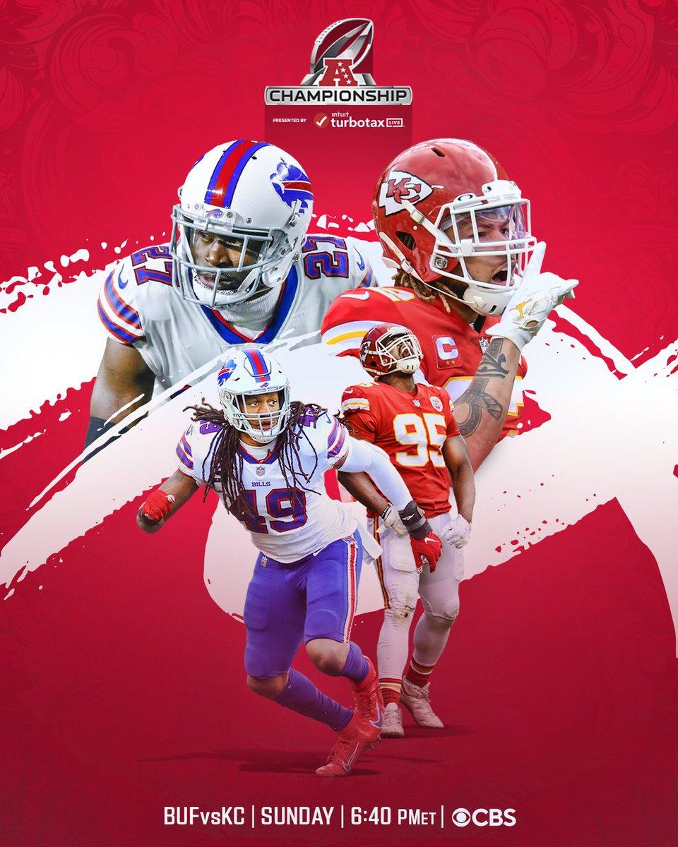 💥 AFC Championship 💥   @BuffaloBills. @Chiefs.  📺: #BUFvsKC -- Sunday 6:40pm ET on CBS 📱: NFL app // Yahoo Sports app