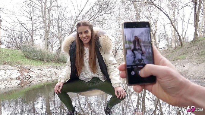 🍓Juicy sale! 💸  💓GERMAN SCOUT - Cute girl Eveline Dellai in leggings tricked to raw pickup fuck💓 [1080p]