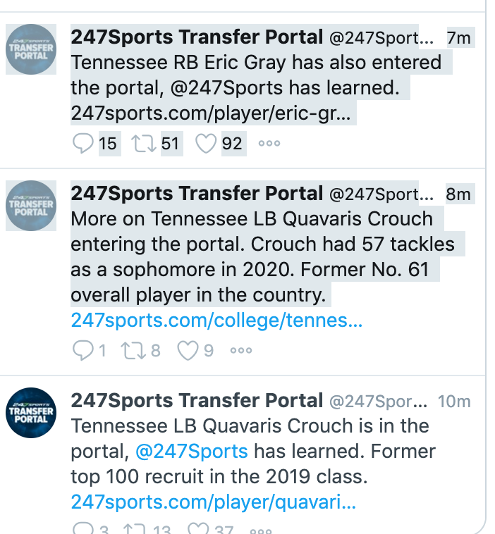 They should rename this thing the Tennessee Transfer Portal.