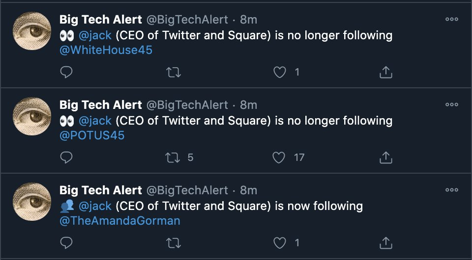 Twitter CEO @jack reflecting a national shift: Trump is out; @TheAmandaGorman is in. https://t.co/O7chwgb4ae