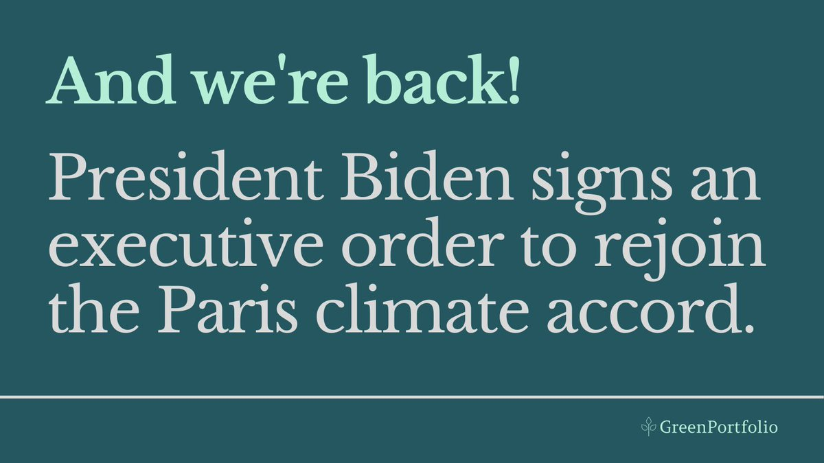 On Day 1 of his term, President Biden made good on his promise to make #climateaction a priority. The US will rejoin the #parisclimateagreement. #chooserenewables