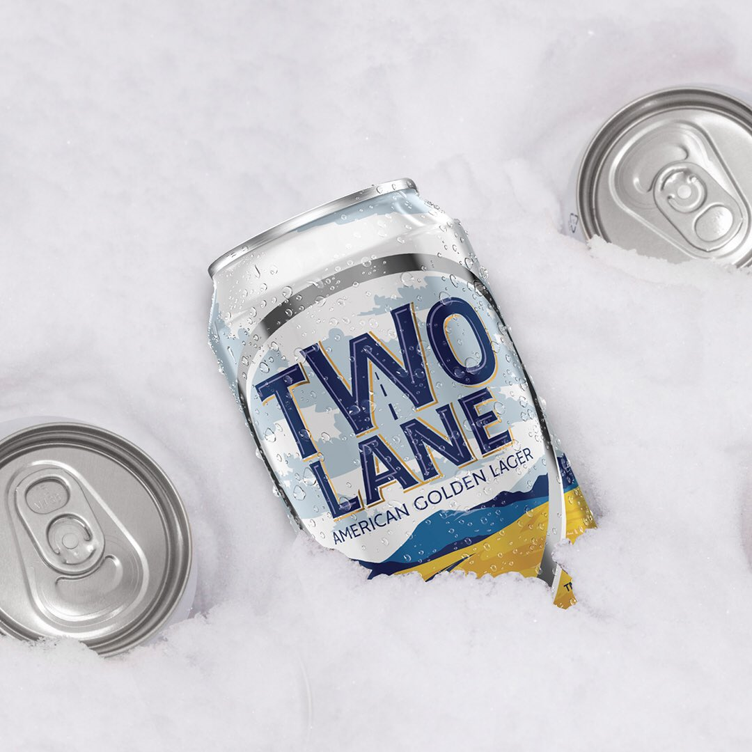 Snow banks are just nature's beer cooler. #twolanelager #twolanehardseltzer