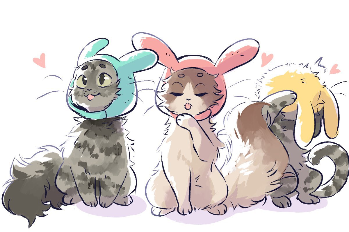 @pokimanelol @CashApp Have to head to work soon so I doodled this fairly quick 💖!! Drew my cats with bunny ears as well as Mimi!!   (The one with the bunny ears is mochi and her sister matcha has the bat wings :D)   Cash app is $Oniimely #CashAppPoki