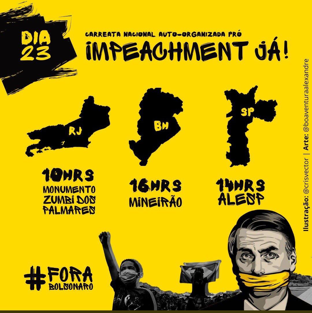 ESQUERDISTAS SAFADOS ESTÃO QUERENDO FAZER CARREATA CONTRA O GENOCID... O MITO!! DIA 23 EM TODO O BRASIL! 🤔   NÃO,  DIVULGUEM! 🙏 NÃO,  VÃO NAS CARREATAS 🚗🚗 NÃO,  USE A HASHTAG #dia23ImpeachmentJa  😎👍   AO BOLSONARO!!! 🇧🇷🇧🇷