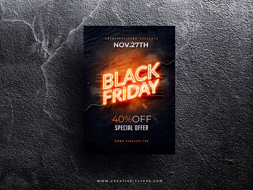 Black friday flyer template. Photo by Creativeflyers #BlackFriday #Template