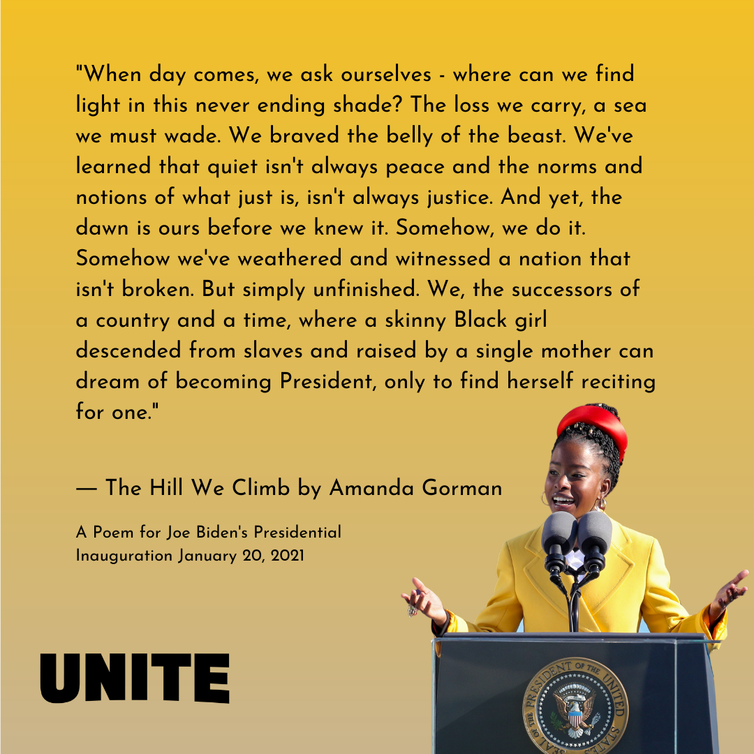 National Youth Poet Laureate Amanda Gorman just became the youngest inaugural poet ever in the United States. Thank you for this beautiful poem, @amandascgorman!  #inauguration #president #joebiden #answeringthecall