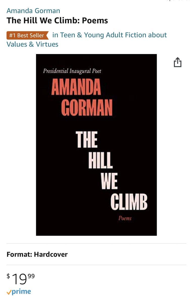 Amanda Gormanの本が即1位!そもそも22歳で詩人というのも素晴らしい。すぐビリーの話しちゃうけどビリー・アイリッシュもフロリダの高校生もグレタ・トゥーンベリも言葉の力がその前の世代と違う