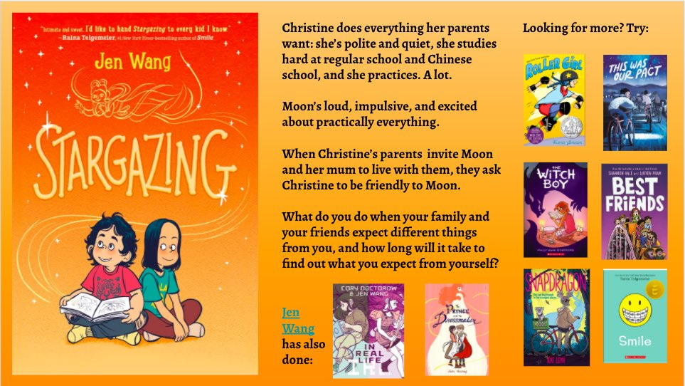 """For our next #ssboyreadalike feature we are looking at """"Stargazing"""" by @alooghobi! Many readers have compared this realistic fiction graphic novel to their @goraina favourites! Here are a few others to try next. #mglit #sd36tl #sd36learn #readalike"""