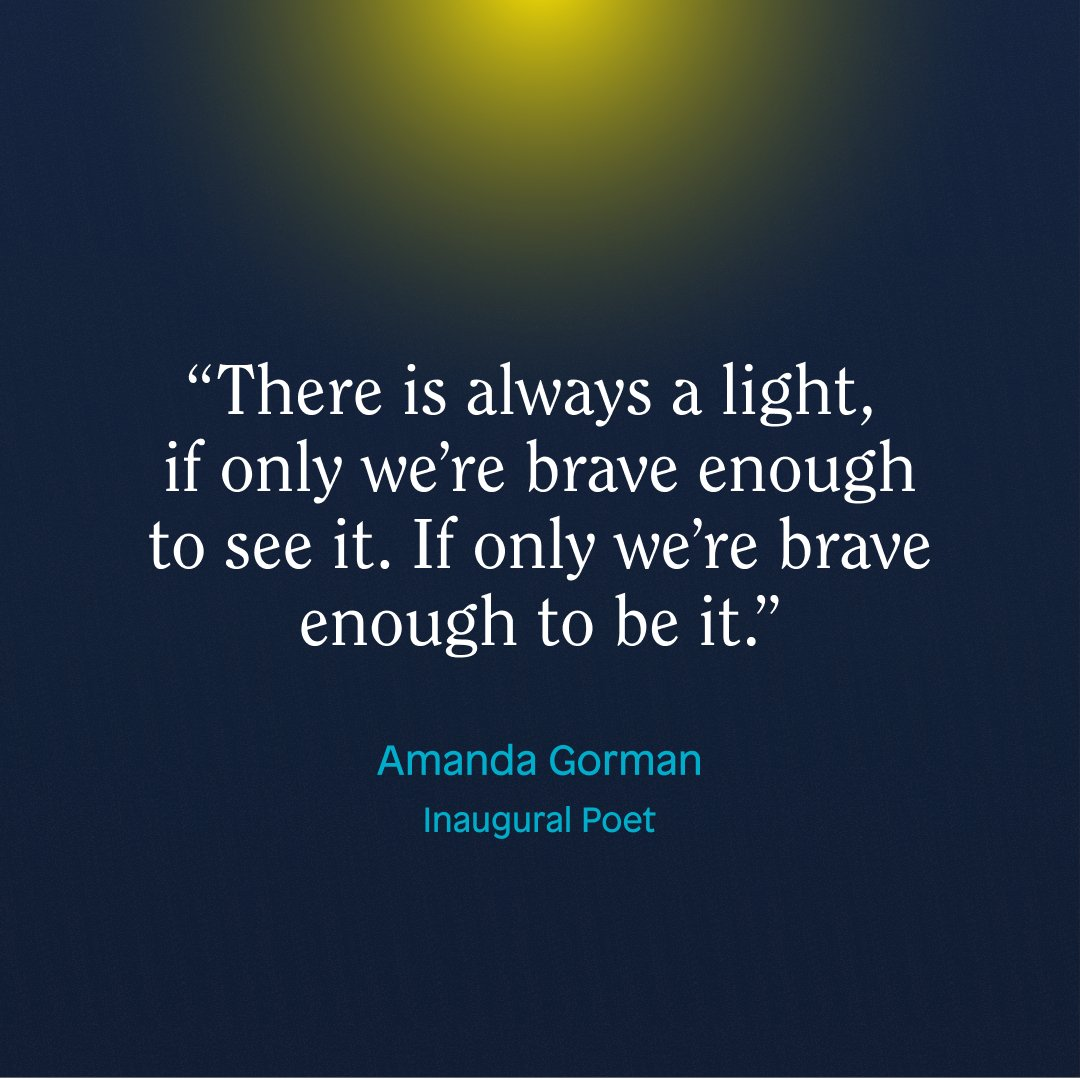 Be brave. Be the light. 💡 Thank you @TheAmandaGorman for your voice of inspiration.