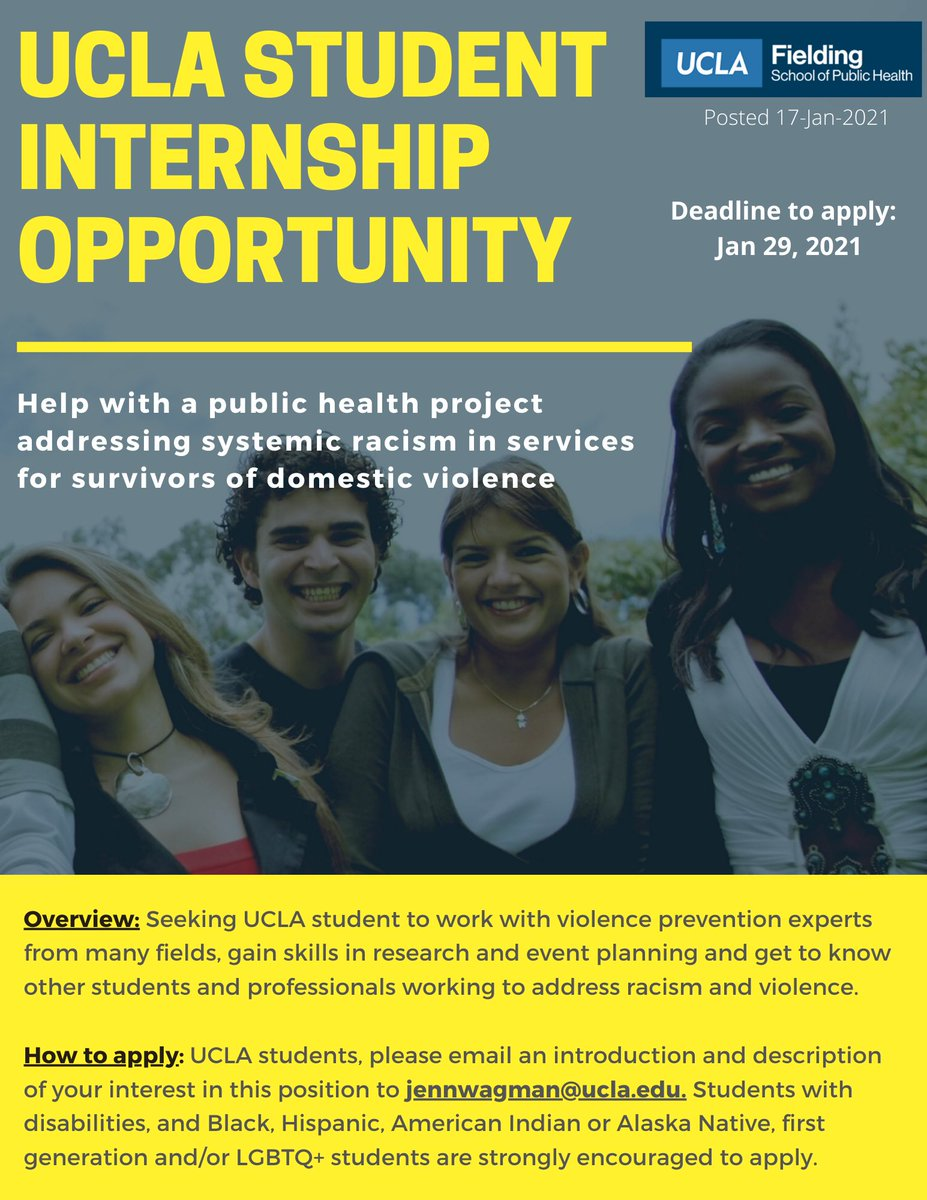 📣 UCLA STUDENTS! 📣 (undergrad & grad)  If you are an undergraduate or graduate UCLA student passionate about systemic racism, domestic violence & services for domestic violence survivors, apply to this internship opportunity in the @uclafsph with our PI, Dr. Jennifer Wagman!