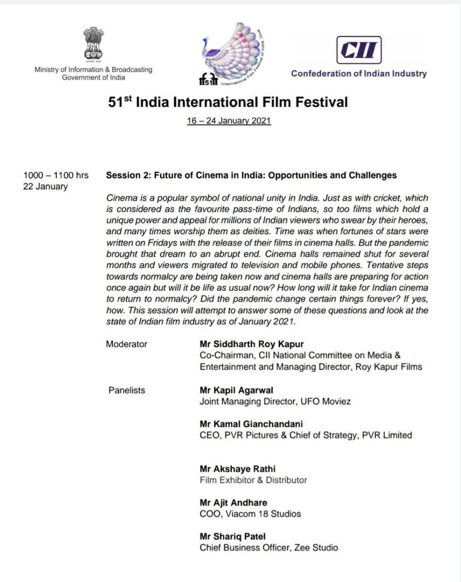 Excited to participate in a panel discussion about THE FUTURE OF CINEMA IN INDIA at @IFFIGoa with @kamalgianc @Kapil1960Kumar @shariqpatel @AndhareAjit & @roykapurfilms on the 22nd. Look forward to discussing the challenges & opportunities that lie ahead. @FollowCII @MIB_India