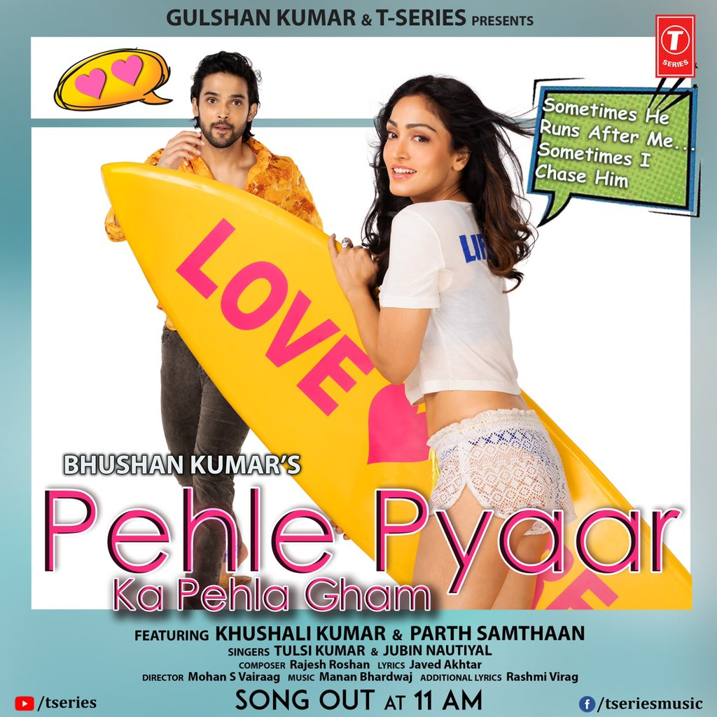 #PehlePyaarKaPehlaGham will be out at 11am! Are you guys ready to experience this sweet romance between these two lovelies? Don't miss out!   #tseries @Tseries #BhushanKumar @KhushaliKumar @LaghateParth @JubinNautiyal #MohanSVairaag #RashmiVirag @tuneintomanan @Javedakhtarjadu