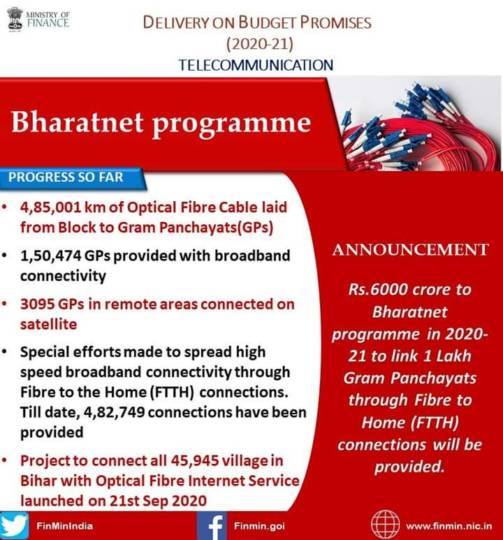 #Bharatnet is a vital initiative that will provide digital connectivity to government institutions at the Gram Panchayat level & bolster overall connectivity.  Expanding this programme in a sustained manner will contribute to transformation of rural India. @GoI_MeitY @mygovindia