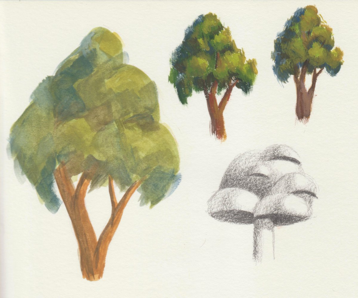 Tried the himi miya gouache with some tiny trees studies. I still get scared of using new art supplies, but I realized it has a LOT of paint. Made these based on an art magazine from the 2000s I found: Getting Started in Art Magazine.  #gouache #painting #art #landscape #drawing
