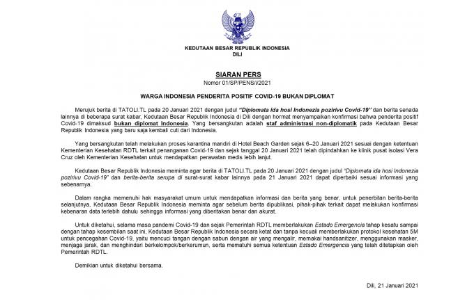 Notisia diplomata ida husi Indonézia pozitivu Covid-19 hamosu konfujaun https://t.co/4dVPJXYQpm https://t.co/kOl9vyWayK