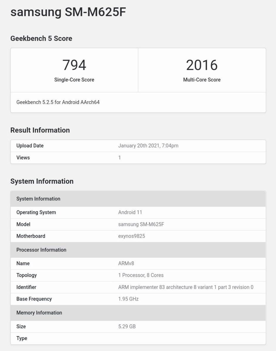 Samsung Galaxy M62 appeared on GeekBench with  6GB of RAM Exynos 9825 SoC Android 11 7,000mAh Battery 25W Fast Charging 256GB of ROM  #SamsungUnpacked #SamsungGalaxyS21 #SamsungGalaxyS21Ultra #GalaxyNote20 #GalaxyS21Series