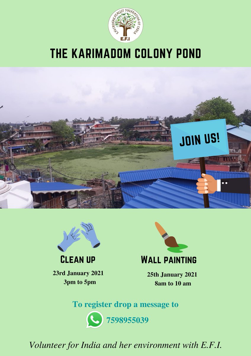 This #RepublicWeek, join E.F.I for a #CleanUp and #WallE Awareness #WallPainting activity at the #KarimadomColonyPond in #Trivandrum!   To register, drop a message to 7598955039  #EFI #environment #Kerala #thiruvananthapuram #Karimadom #cleanindia #fornature #conservation #water