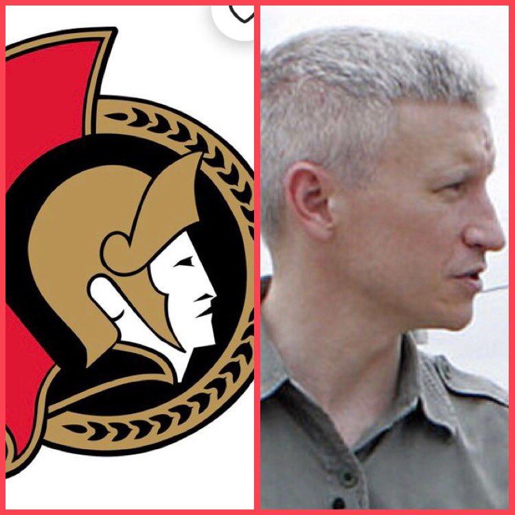 Has anyone realized that the Ottawa @Senators used @andersoncooper as their model for their new logo!!?? 😂 😂 😂   @NHL #hockey #ottawa #OttawaSenators #andersoncooper #cnn #nhl #senators @AC360 #Leafs @CNN #lol #funny #lookalike #cnnnye #andycohen #haha