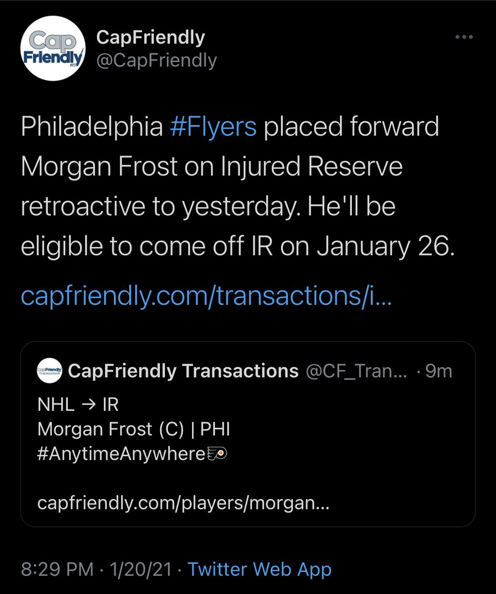 There ya go. CapFriendly appears to be backing up our earlier tweet. #AnytimeAnywhere