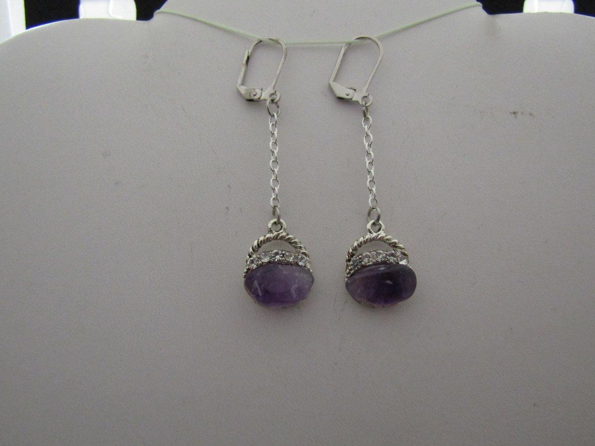 Purple Amethyst Leverback Earrings with Czs    #earrings #amethyst #cz #clear #purple #silver #chain #leverback #hoop #drop #jw #handmade #handmadejewelry #HandmadeLove #handmadegifts #depop #paypal #boho #party #cute #chic