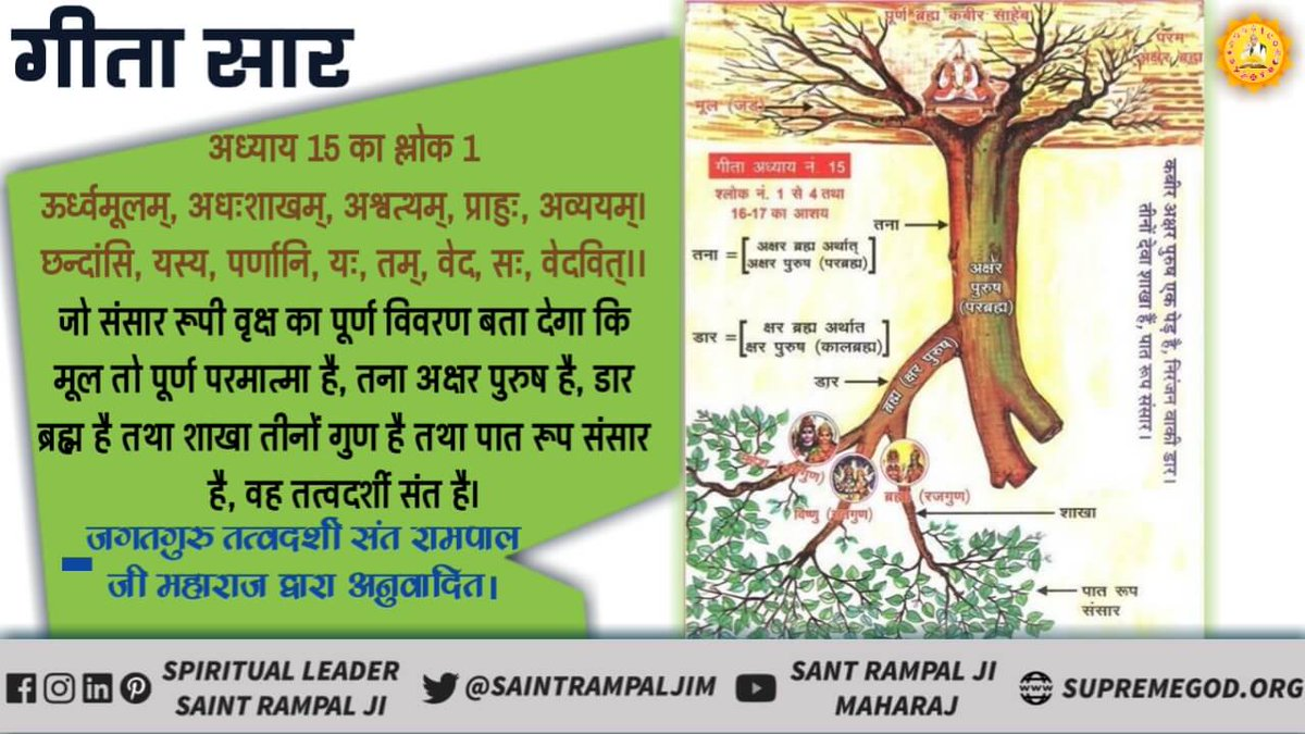 #GodMorningThursday #HiddenTruthOfGita In Geeta Chapter 15 Verse 1, the identity of that metaphysical saint has been told that he will make every part of the tree of the world knowledge. Ask the same.