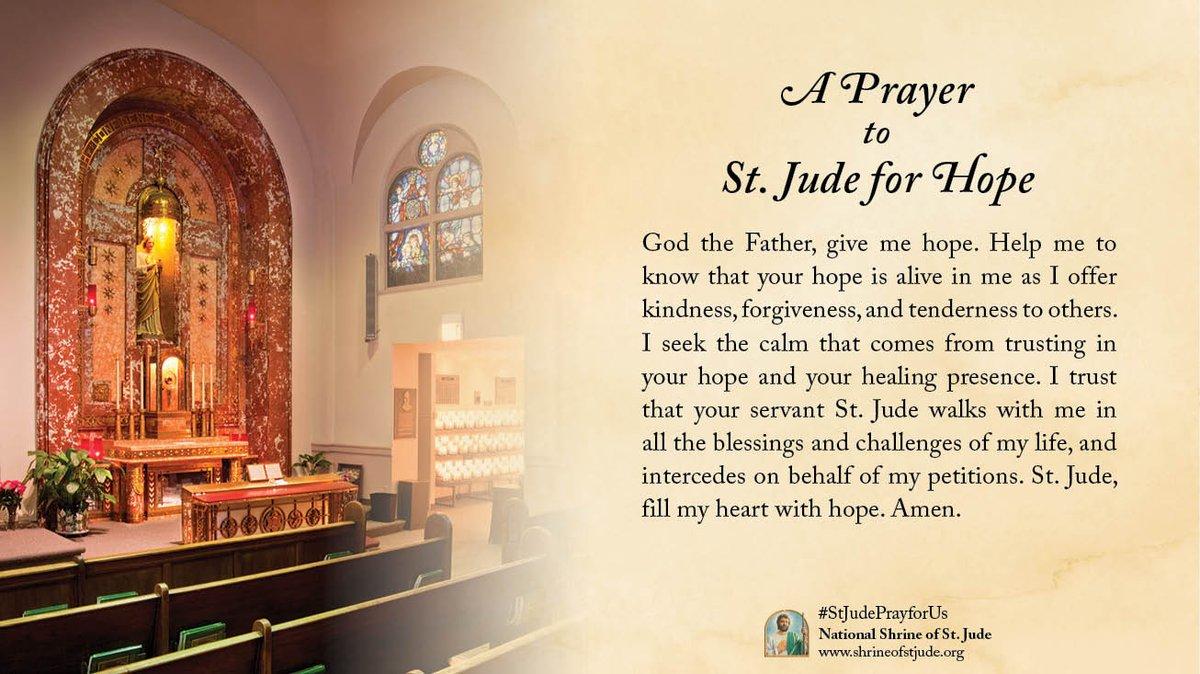 A Prayer to St. Jude for Hope - #pray #prayer #stjude #saintjude #hope #God #Father #kindness #forgiveness #tenderness #calm #trust #healing #heal #blessings #challenges #intercede #petition #heart #amen #catholic #catholicism #catholicfaith