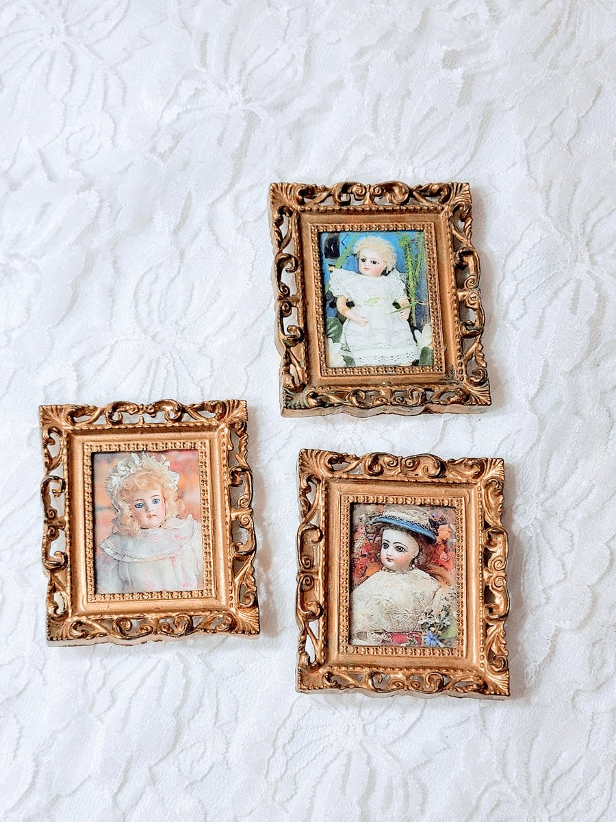 "Excited to share the latest addition to my #etsy shop: Set of Three (3) Miniature Doll Sized Framed Antique Doll Pictures ~ Ornate Gold Table Display Picture Frames 2.5"" x 2.25"" Sold AS-IS https://t.co/pHiJazN8tt #gold #painting #vintage #miniatures #photos https://t.co/VhXtOPsvQx"