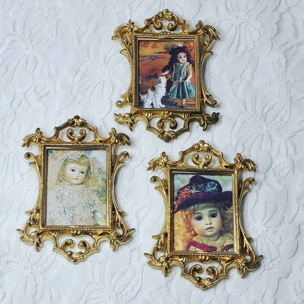 "Excited to share the latest addition to my #etsy shop: Set of Three Miniature Doll Sized Framed Antique Doll Pictures ~ Ornate Gold Hanging Picture Frames 4"" x 3"" ~ Hong Kong https://t.co/n6Pgis4EqR #gold #painting #wall #plastic #bedroom #victorian #vintage #miniature https://t.co/RNP3BN9Zo8"