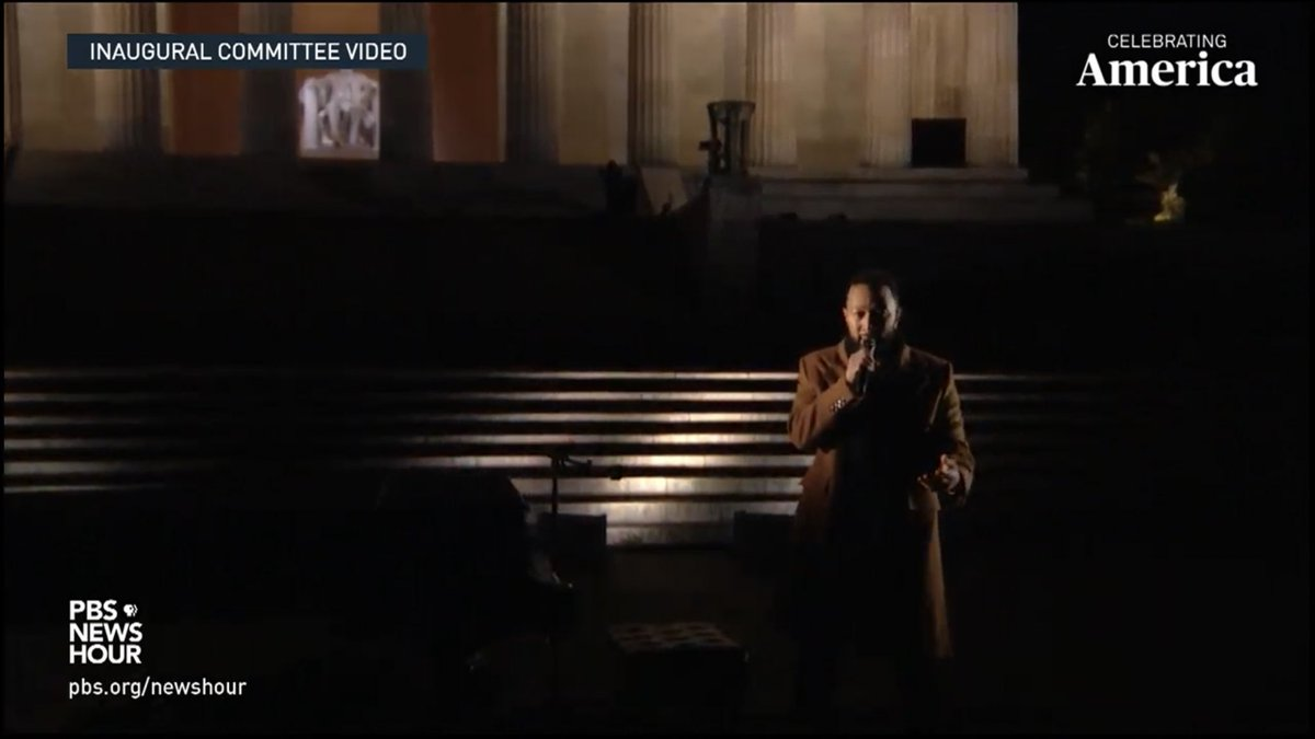 """And now John Legend - because his character in La La Land has been pardoned now."" #JohnLegend #CelebratingAmerica"