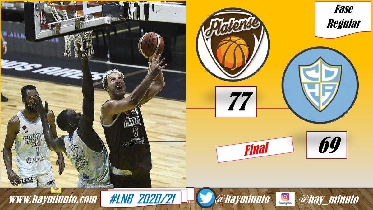 #LigaNacional final @basquetplatense sigue de racha! Superó a @HispanoBasquet 77-69 y logró el 5to triunfo consecutivo! #6 Julián Aprea (19+4r en 35') #0 @andreslugli1 (12+8r+3as en 24')PLA #1 K. Barlow (20+6r+3as en 36')  #12 @GargalloLucas (17+6r+3as en 40')HIS  📸Rodrigo Valle
