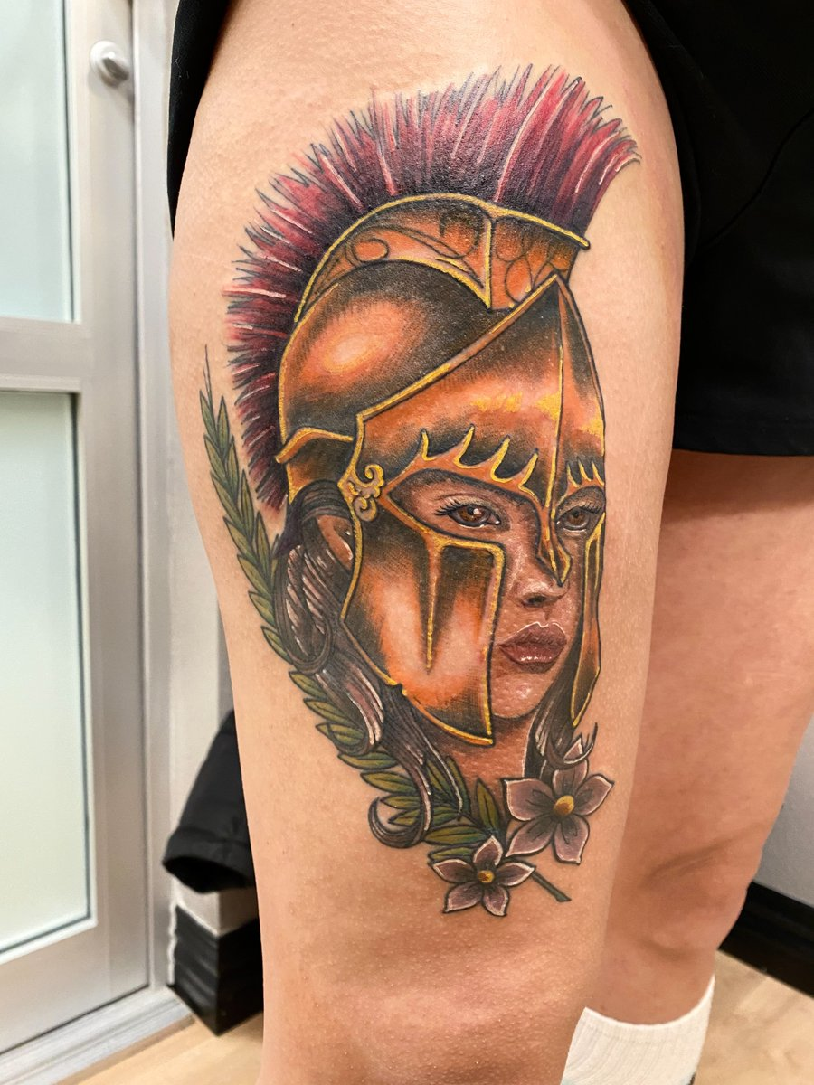 Spartan female this week! More please!  FOR APPOINTMENTS Email: broketattoos@gmail.com  #broketattoos #thegarrisontattoo #clintontownship #tattoo #tattoos #tattooed #michigantattooer #ink #inked #instatattoos #tattooartist #michigantattooers #thightattoo https://t.co/LdPyjVpLV1