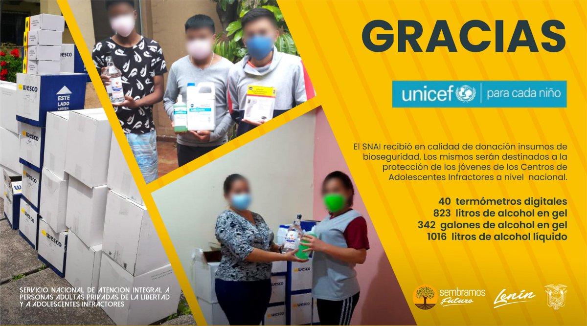 El @SNAI_Ec agradece la donación de @unicefecuador, con la que se dotó de implementos de bioseguridad a los Centros de Adolescentes Infractores de todo el país. Estas acciones garantizan la protección de los jóvenes, en el margen de la pandemia de #COVID.  #JusticiaRestaurativa