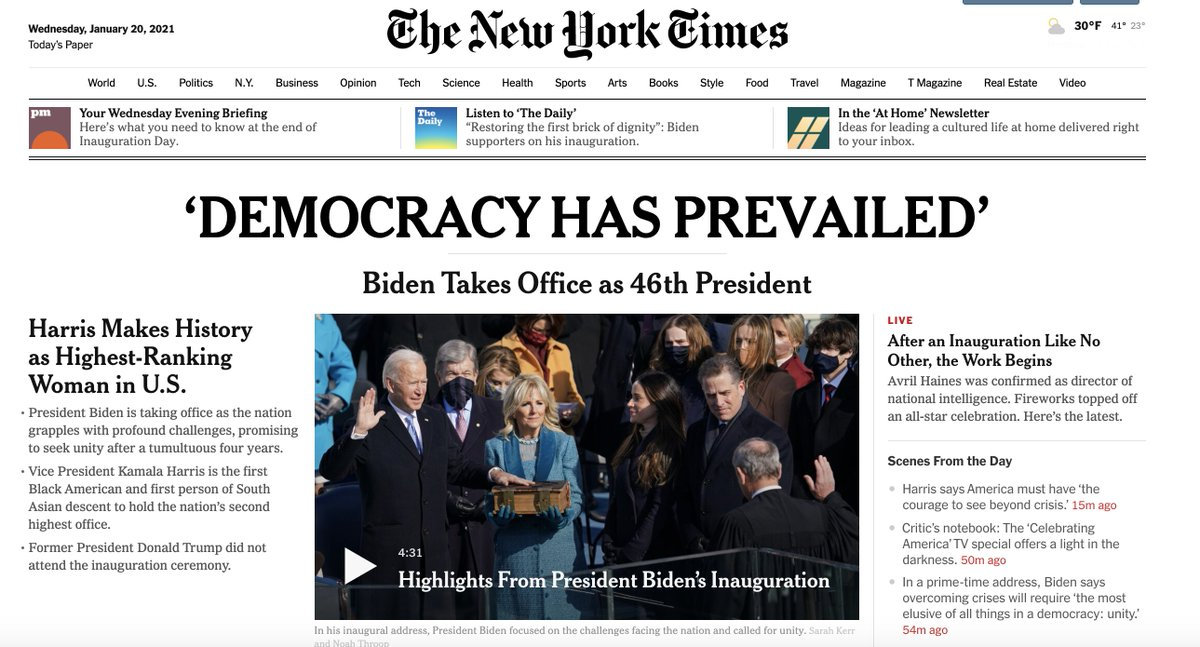 'DEMOCRACY HAS PREVAILED' Biden Takes Office as 46th President — historic @nytimes home screen https://t.co/wgf7I7q5FH