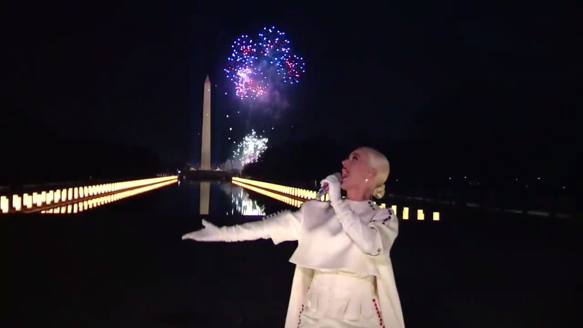 "Thank you @KatyPerry for lighting up the night with your sparkling performance of ""Firework."" 🎇  #Inauguration2021"