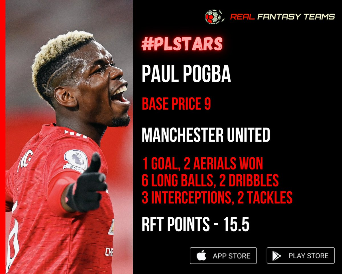 Paul Pogba turned up with the winner for Manchester United 🔥  1⃣ Goal 2⃣ Aerials won 6⃣ Long balls 2⃣ Dribbles 3⃣ Interceptions 2⃣ Tackles 1⃣5⃣.5⃣ RFT points  @ManUtd | #Pogba #FantasyFootball  @premierleague | #PremierLeague #EPL  @paulpogba