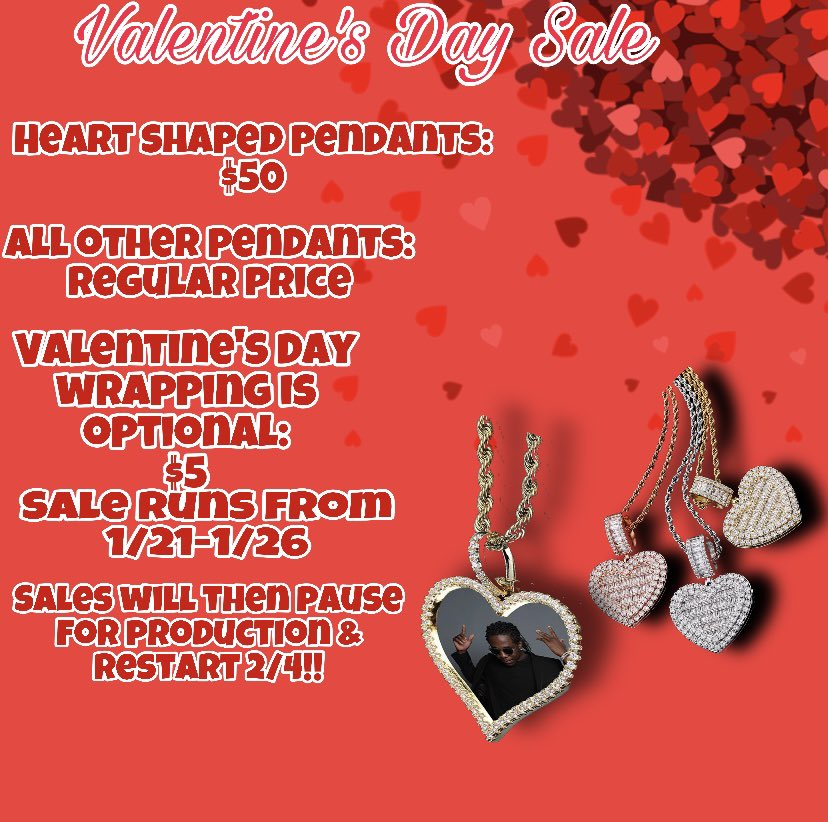 VALENTINE'S DAY SALE!!♥️ ALL heart shaped pendants are $50! Including the baguette locket!!💎🥶 get your boo, your mom, grandma, sneak link etc one TODAY!! Guarantee they'll love it💕🤪  @madeinjermany