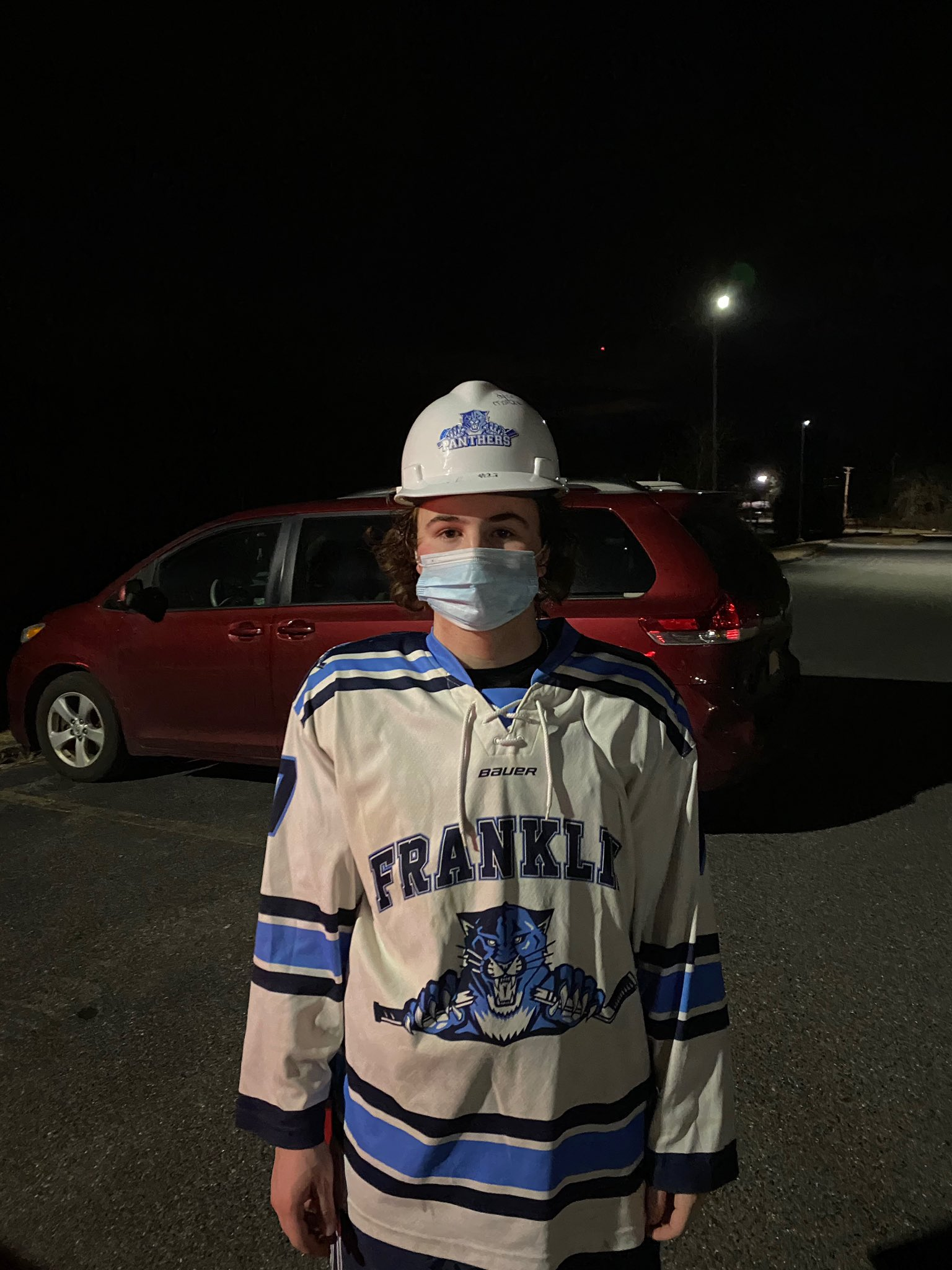 Hard Hat #7 Matty Gates  Worked his butt off every shift!   Scored his first goal on Varsity then added another as well as an assist.  Awesome job Matty!!  @PanthersJvPuck