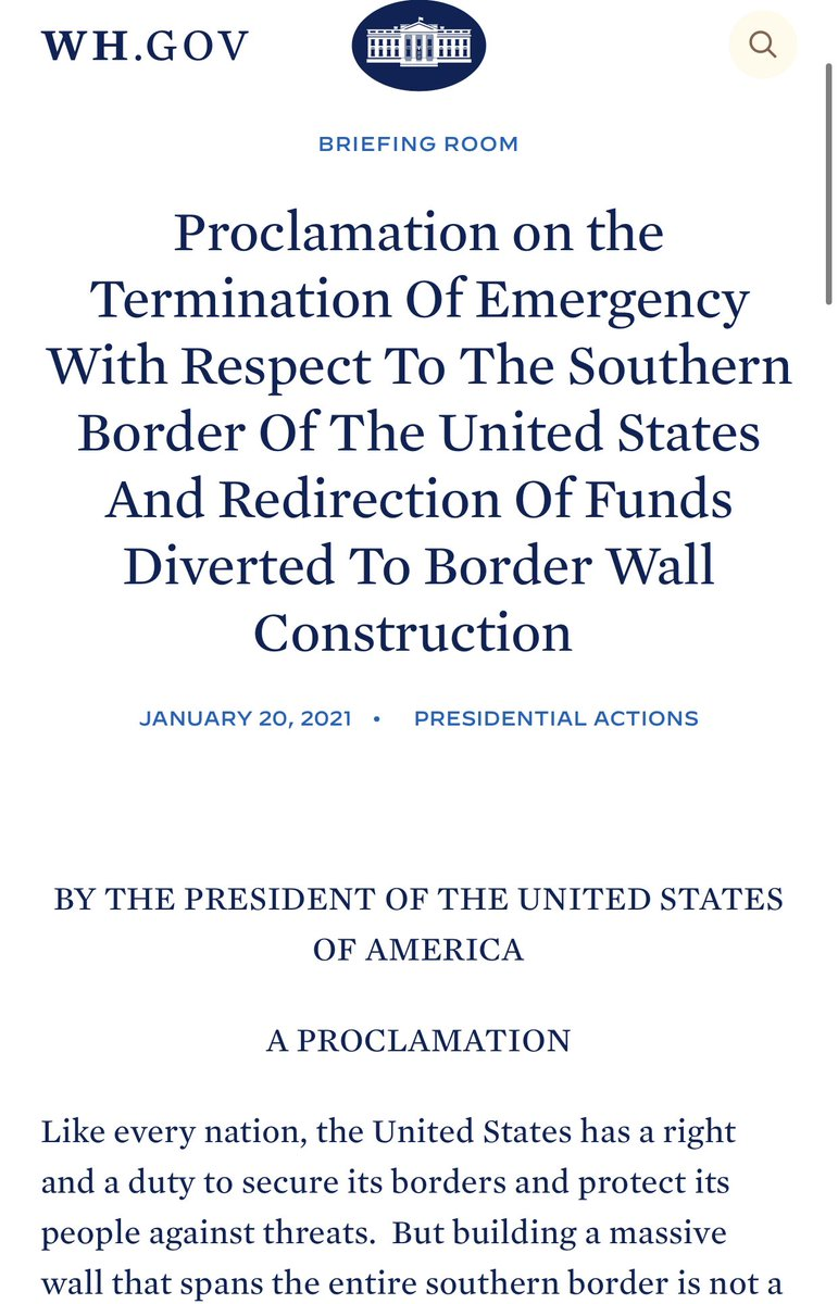 "BREAKING—Mexico border wall construction has been terminated by President Biden.   ""It shall be the policy of my Administration that no more American taxpayer dollars be diverted to construct a border wall.""  Finally.   https://t.co/kHHg9ir3GK https://t.co/E2ywXbJNgH"