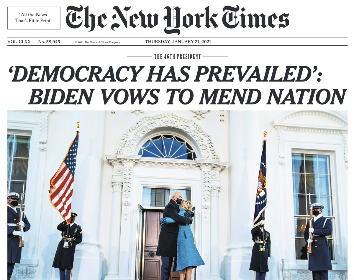 'DEMOCRACY HAS PREVAILED': BIDEN VOWS TO MEND NATION — Thursday's historic @nytimes Page One https://t.co/R17glERa3T