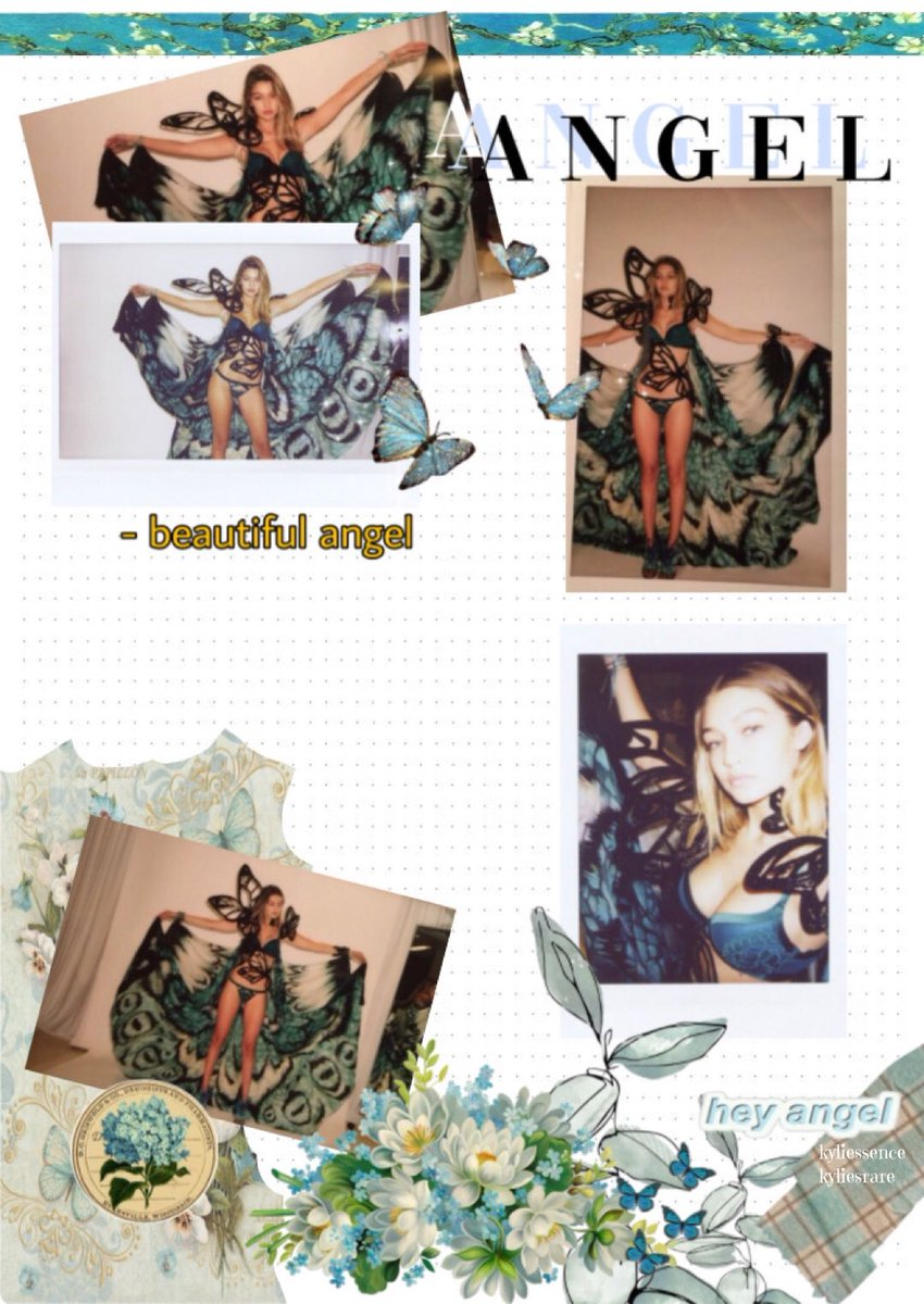 hi babie @gigihadid i made this edit of a scrapbook with the polaroids from victorias secret parades! i love these photos and i love scrapbooks, i think it's the best way to keep memory in a fun way! 3 pages🦋💕 #giforce