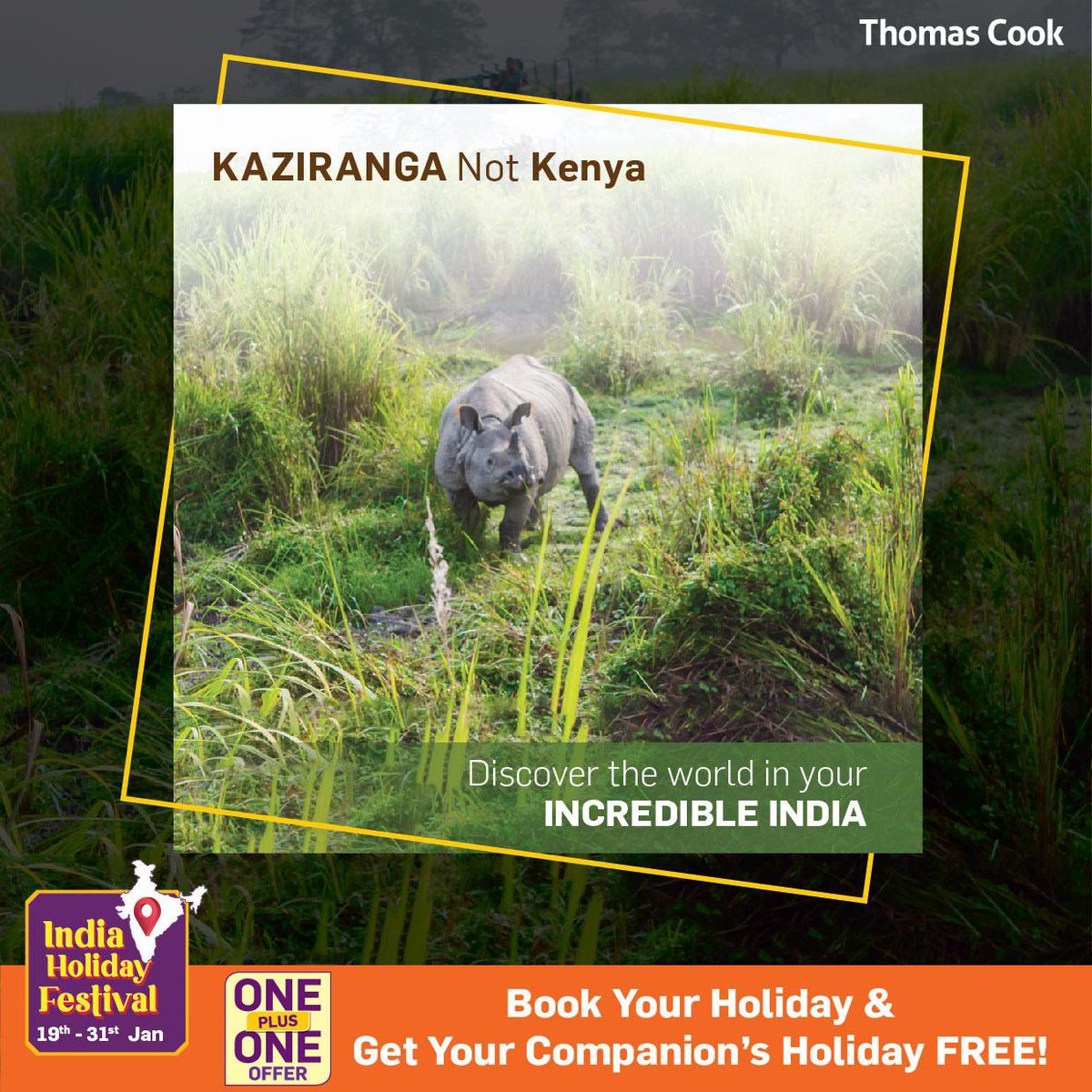 Home to the one-horned #rhino, Kaziranga National Park is most notable #wildlife sanctuary has been declared as a #WorldHeritageSite by #UNESCO in the year 1985.  To avail this offer, click   #ThomasCookIndia #KazirangaNationalPark #indiaholidaytravel
